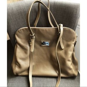 Valentina italia beige leather handbag
